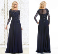 Wholesale 2015 Navy Blue Elegant Mother Of The Bride Dresses Sequined Appliqued Chiffon Long Evening Gowns Sheer Long Sleeves Formal Gowns