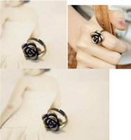 austria bronze - Adjustable Vintage Wedding Jewelry New Fashion Austria Punk Style Sweet Bronze Roses Flower Rings For Women Girl Party Dress Gift