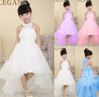 Cheap 2015 Flower Girl Dresses For Weddings Pageant White Blue Sleeveless Trailing Dress Child Bridesmaid