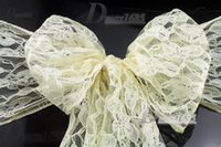 wedding chair sashes - 100 Pieces Ivory Lace Chair Sashes Wedding Chair Cover Sashes Bow