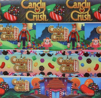 Wholesale New Hot Yards Candy Crush Cartoon Printed Grosgrain Ribbon Webbing Hairbow DIY Party Decoration Styles OEM