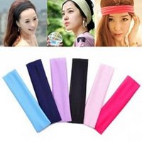 Knit stretch band - 2015 Colors Stretch Headband Sports Yoga hair band Sweat Head Wrap Unisex good Stretch Bandanas cm