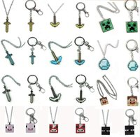 kids rings - 24 Style Minecraft Creeper Complete JJ Sword Diamond Necklace Key Hang Buckle Key Ring Keychains Kids Christmas Gift Top