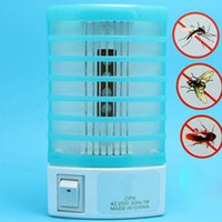 Wholesale 1 V Socket Electric Mini Mosquito Lamp LED Mosquito Repeller killing Fly Bug Insect Trap Night Lamp Killer Zapper
