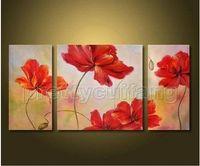 Cheap Huge Art Handmade Rod Rose Flowers Set Oil Painting On Canvas PJ015 100% pure hand-painted