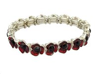 beaded poppies - White Gold Tone Red Enamel Poppy Flower Strech Bracelet Elegant Women Jewellery