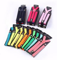 Wholesale 2015 New Candy Color Unisex Mens Womens children s Clip on Adjustable Braces Elastic Y back Suspenders Free Sipping