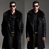 Wholesale Fall men s warm winter fur coat leather coat long men s whole mink fur coats Both sides wear overcoats for men size XL