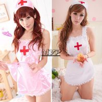 Wholesale Promotions Sexy Lingerie Costume Maid Uniform Hot Underwear Maid Outfit Nurse Lingerie With G string and Hat SV005969