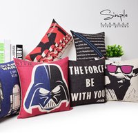 Wholesale European Throw Pillow Cases Star Wars Pillow Covers Cartoon Minions Cushion Covers Linen Christmas Pillow Case Cushion Cover