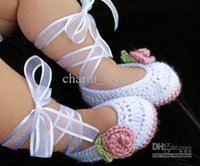 Spring / Autumn crochet yarn - 2015 new arrival Crochet Ballet Baby Booties in White Dusty Rose Pink first walker shoes cotton yarn