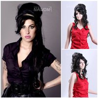 amy winehouse wig - 2015 AMY WINEHOUSE Cosplay Wig Kanekalon Synthetic Wig Long Wave Black Female Hair Display Hot Sale Wigs W3760