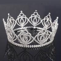 Cheap NEW Shining Crystals rhinestone Wedding Crowns Bridal Crystal Veil Tiara Crown Headband Hair Accessories Party Wedding Tiara crowns HH01