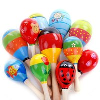 Wholesale 10pc Colorful Baby Toy Wooden Maracas Egg Shakers Musical Toy Baby Rattle Early Educational Toy Hand Trainning