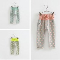 knit pants - new fashion spring Boys and girls spell color Polka Dot knit harem pants F