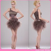 Cheap Reference Images Brown Homecoming Dresses Best Ball Gown One-Shoulder short sexy homecoming dresses