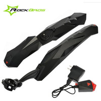 Wholesale ROCKBROS quot Bike MTB Fender Mudguard Front Rear Quick Release With LED With USB Charger Rechargeable Mud Guard Set Black