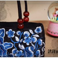 flower handbags - uggage Bags Handbags Hot Canvas Ethnic Tote Bag Fancy Flower Embroidery Handbag Women Shopping Bags Blue Peony Beading Bags Bolsos M