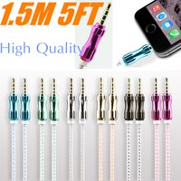 Wholesale Car Aux Mobile - 5FT 1.5M 3.5mm Car Audio AUX Extention Cable Braided Woven wire Auxiliary Stereo Jack Male Lead for Iphone 7 6 6plus Android Mobile Speaker