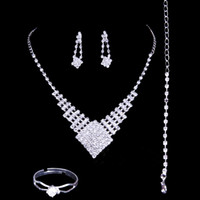 accessories jewellery style - 2016 Luxury Wedding Jewellery Sets Rhinestone Bridal Accessories Necklace Earrings Rings Accessories Four Pieces Cheap Fashion Style Hot