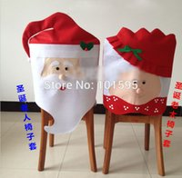 banquet chair covers suppliers - 2014 Christmas Suppliers ONE Couple Santa Claus Soft Cotton Chair Back Covers Christmas Kitchen Dinner Banquet Chair Cover