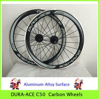 Wholesale Ace C50 Carbon Wheels mm Glossy Matt Finish C Wheelsets Aluminum Alloy Brake Surface Tubular Clincher Rim Carbon Road Bicycle Wheel Set