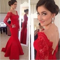 Wholesale 2016 New arrival Hot Sexy Red Lace Long Sleeve Mermaid Evening Gowns Applique Bateau Backless Sweep Train Prom Formal Dresses BO5612