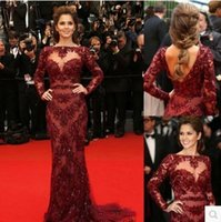Cheap Prom Dresses Cannes 2015 Red Carpet Sexy Burgundy Lace Long Sleeve Prom Dress Celebrity Floor-Length Formal Evening Dresses