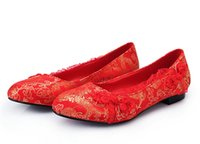 ancient chinese shoes - Chinese Traditional Bridal Accessories Ancient Embroidery Elegant Classical Flats Vintage Wedding Shoes