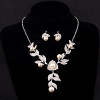 beaded jewelry supplies - Supplying high end fashion roses pearl necklace earrings wedding accessories bridal jewelry piece