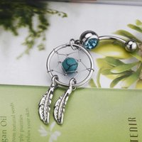Wholesale New Arrival Body Jewelry Piercing L Surgical Steel Inch Crystal Gem Dream Catcher Belly Navel Barbell Bar Ring H11564