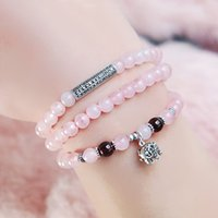 Wholesale Agate rose quartz counters quality baby elephant long section of beads bracelet female Korean fashion jewelry with multi layer winding