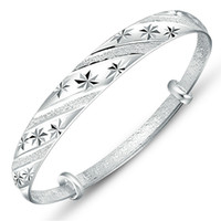 Wholesale Classic sterling silver bracelets bangles women Carving Scrub Meteor shower Flower brazaletes pulseras mujer plata