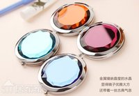 Wholesale Crystal portable mirror Cosmetic Compact Mirror Stainless Steel Make Up Mirror Gift Magnifying Wedding Gift Free Ship