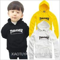 Wholesale 100 Cotton Children s wear Retail cm kids hoodies street wear thrasher printed hoodie thrasher Pullover for children