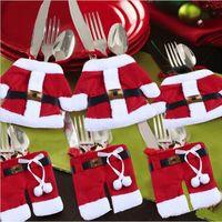 bag for suit - 6Pcs Set Happy Santa Claus Tableware Silverware Bag Suit Christmas Dinner Party Decor Christmas Decorations For Tableware