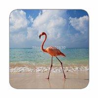beach birds - Beautiful Tropical Flamingo bird Beach Pattern Print Custom Mat Drink Tea Cup Cork Coasters Pack of