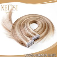 tape hair remy - Neitsi inch Tape in Hair Piano Mixed Color P18 Straight Remy Human Hair Extensions Tape Hair Skin Weft Hair Extensions