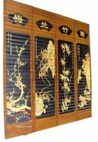 Cheap Bamboo carving decoration pendant sitting room at home 4 Panels Modern Home Decorations Painting Huge Canvas Wall Art Print