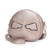Wholesale 2015 new arrival Little Devil design rivet PU leather women messenger bag fashion mini women bag circular crossbody bag WLHB1177