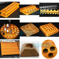 Wholesale Newest e cigarette display stand rack wooden stand wood display holder ego display for ego batteries mods protank CE4 atomizer DHL free