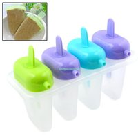 Cheap EQB440 4pcs lot 4 Cells Set Icepop Mold Maker Lolly Jelly Mould Bar Tray Ice Cream Kitchen Tool