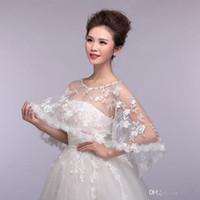 apricot flowers - Crew Tulle Sleeveless Wedding Wraps White Ivory Custom Made Wedding Bridal Jacket Tulle And Lace Bolero Shrug Bridal Wraps