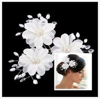 bridal fabric - 3 New Rhinestone Crystal Luxury Fabric Flower Hair Pin Bridal Wedding