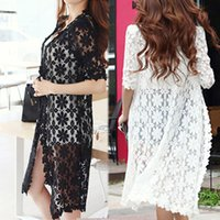 Wholesale 2015 Fashion Long Cape Hollow Out Womens Half Sleeve Summer Autumn Lace Cardigan Sweater Color
