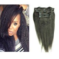 Wholesale Coarse yaki straight Brazilian hair clip in human hair extension A g kinky straight clip in hair extensions