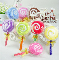 Lollipops christmas towels - 2015 New Fashion Lollipops candy cake towel cotton towel Wedding birthday Christmas gift wedding favors baby shower favors gifts