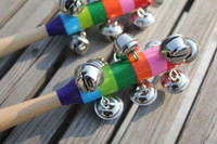Wholesale Baby Rainbow Toy kid Pram Crib Handle Wooden Activity Bell Stick Shaker Rattle16010403