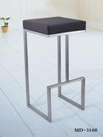 Wholesale modern matt brushed stainless steel bar stool chair with footrest