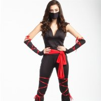 apparel warrior - PSFERZ1689 women sets black suit Costumes Ninja masked warrior exotic apparel sexy party wearing club hoodies tight pants gloves